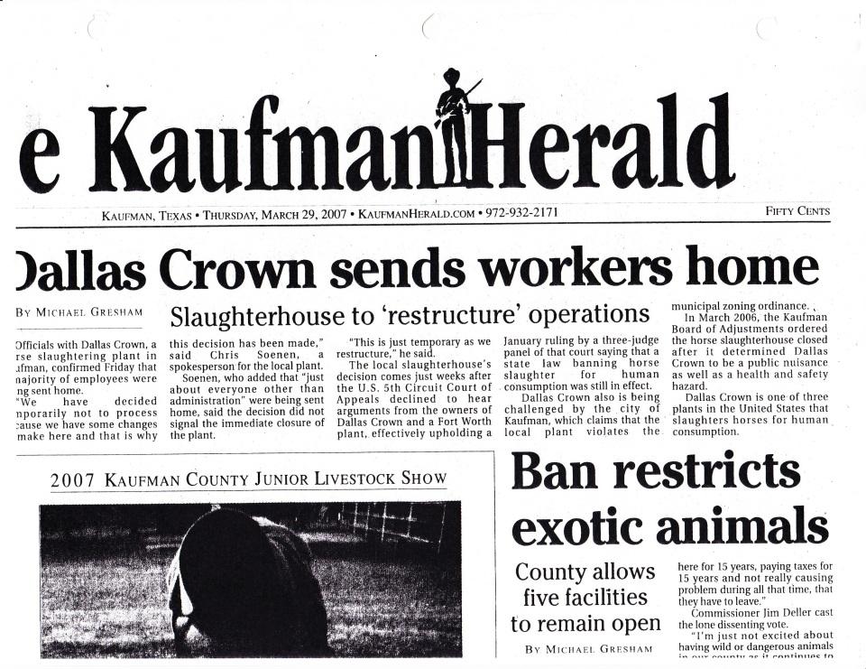 KaufmanHerald_slaughter plant closing